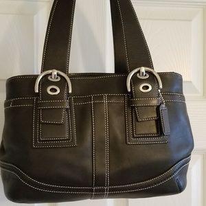 Black Leather Nickel Soho Tote Carryall Bag